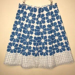 J. McLaughlin | blue & white pleated floral skirt